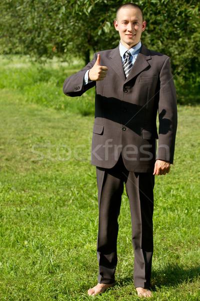 Man werken buitenshuis freelancer gelukkig goed Stockfoto © leedsn