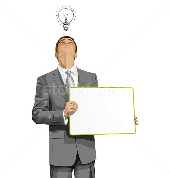Stok fotoğraf: Vektör · iş · adamı · boş · yazmak · tahta · fikir