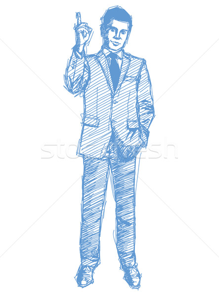Stock photo: Sketch male in suit