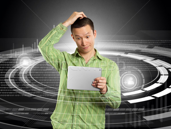 Man With Touch Pad Stock photo © leedsn