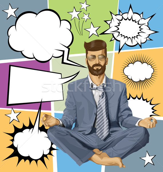 Businessman Hipster in Lotus Pose Meditating With Bubble Speech Stock photo © leedsn