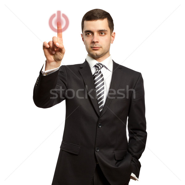 businessman push the button Stock photo © leedsn