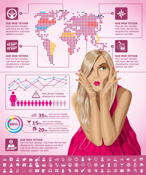 Infographics With Earth Map Stock photo © leedsn