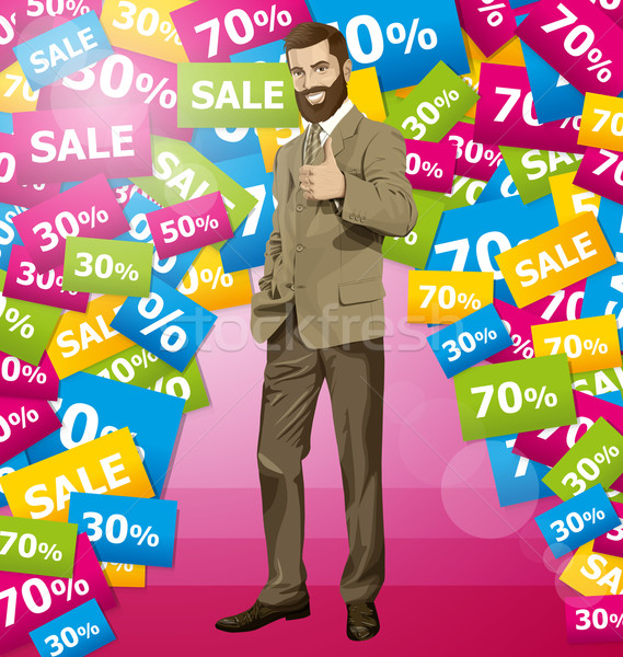 Vector Business Man With Beard Shows Well Done Stock photo © leedsn