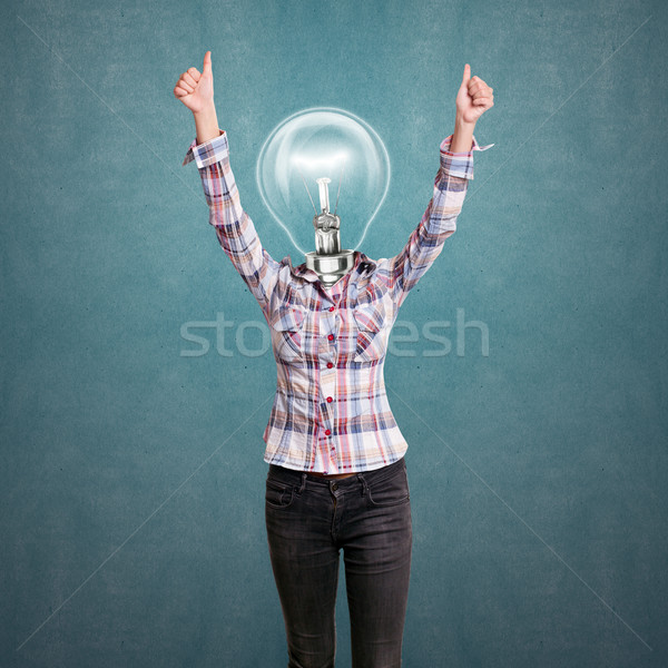 Lamp Head Girl With Well Done Stock photo © leedsn