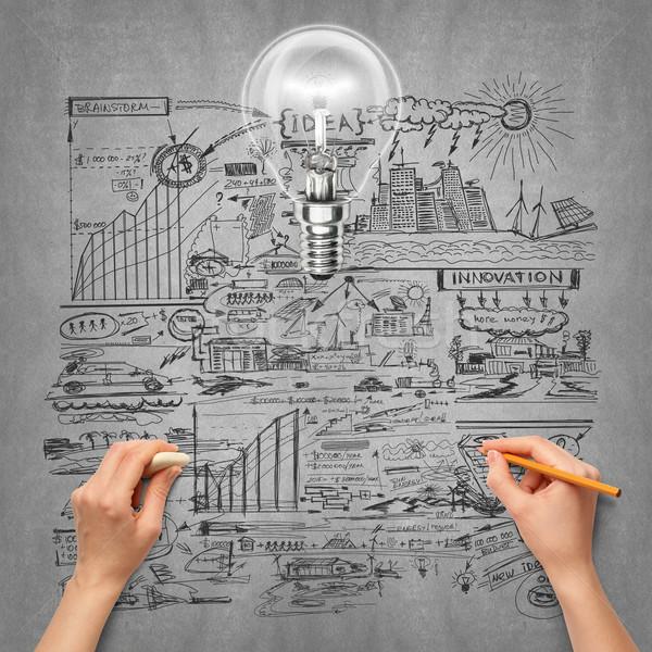 Idéia mão humana ecologia lâmpada esboço lápis Foto stock © leedsn