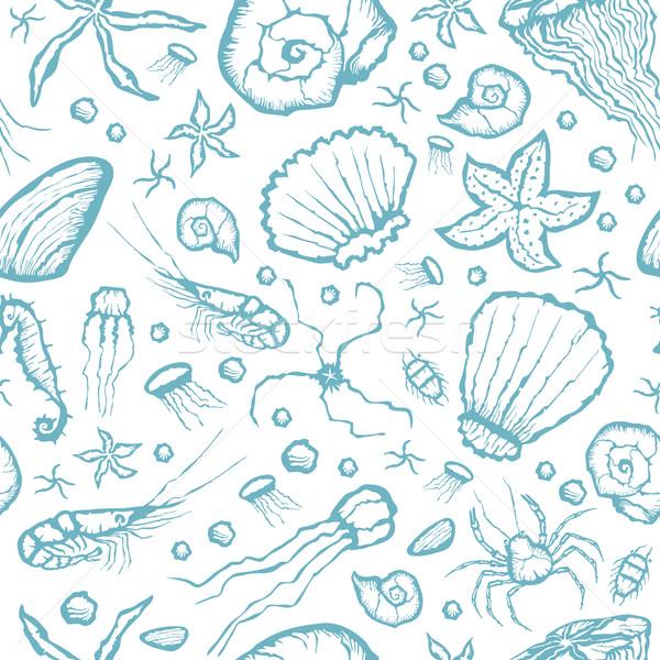 Végtelenített tenger teremtmények minta vektor kéz Stock fotó © leedsn