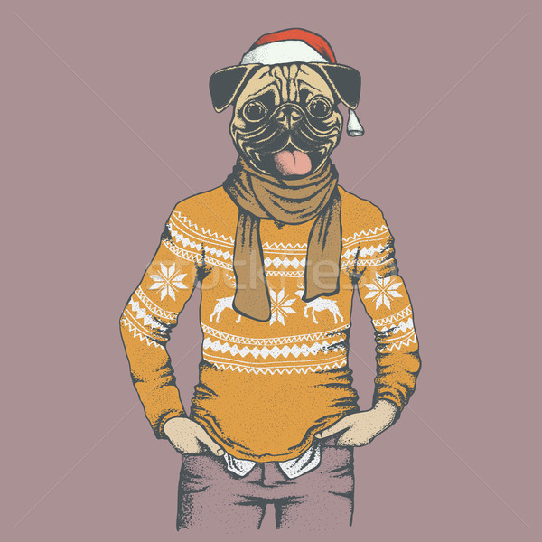 Pug dog vector illustration Stock photo © leedsn