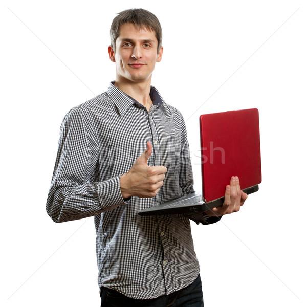 Zdjęcia stock: Mężczyzna · laptop · ręce · dobrze · szczęśliwy · biuro