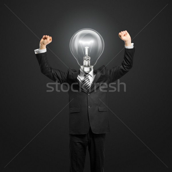 Zakenman handen omhoog opgewonden business kantoor werk Stockfoto © leedsn