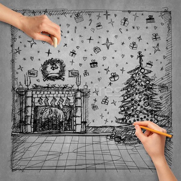 Idéia mão humana natal esboço lápis internet Foto stock © leedsn