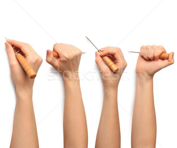 Menschlichen Hand isoliert Papier Rahmen Haut jungen Stock foto © leedsn