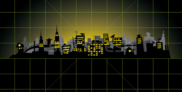 Diagrama cidade vetor grande noite verde Foto stock © leedsn