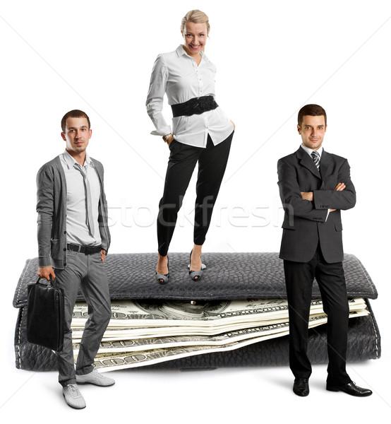 Pessoas EUA dólares equipe de negócios carteira isolado Foto stock © leedsn