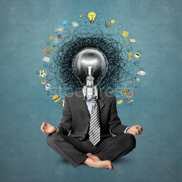 Lampada testa uomo idea mano Foto d'archivio © leedsn