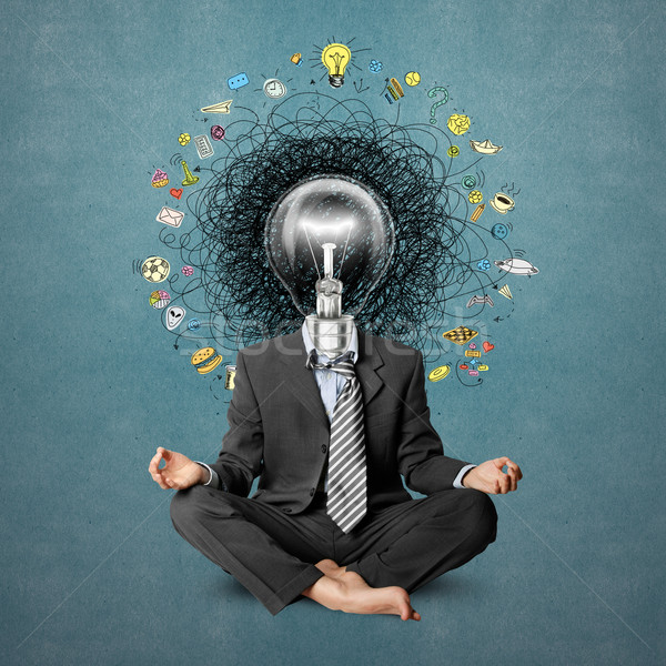 Lámpara cabeza hombre idea mano Foto stock © leedsn
