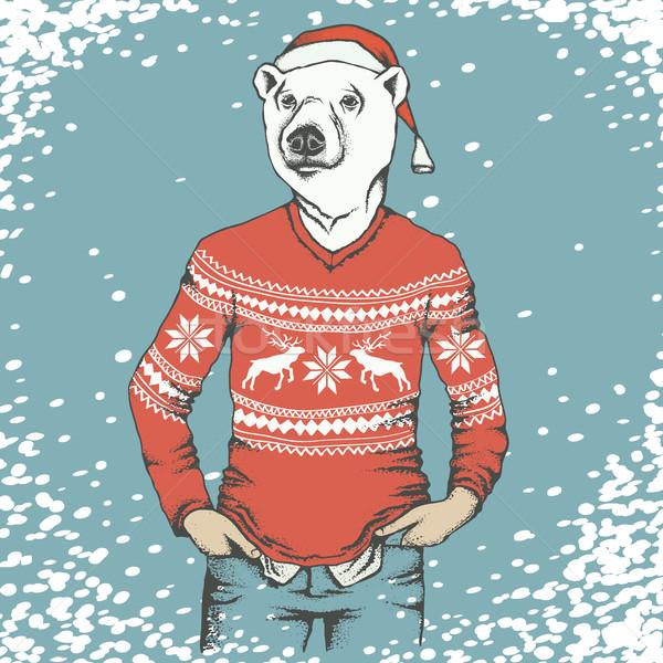 Witte ijsbeer christmas menselijke Stockfoto © leedsn
