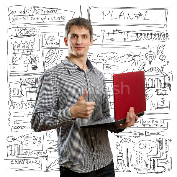 male with laptop in his hands well done Stock photo © leedsn
