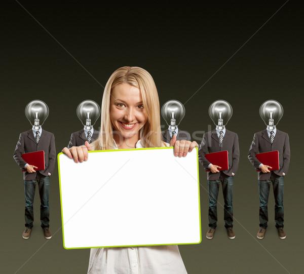 Stockfoto: Vrouw · lamp · hoofd · laptop · Rood