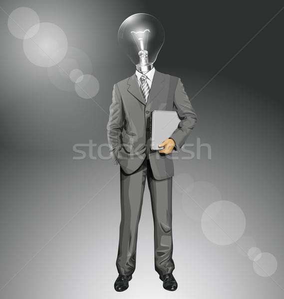 Vector Lamp Head Businessman With Laptop Stock photo © leedsn