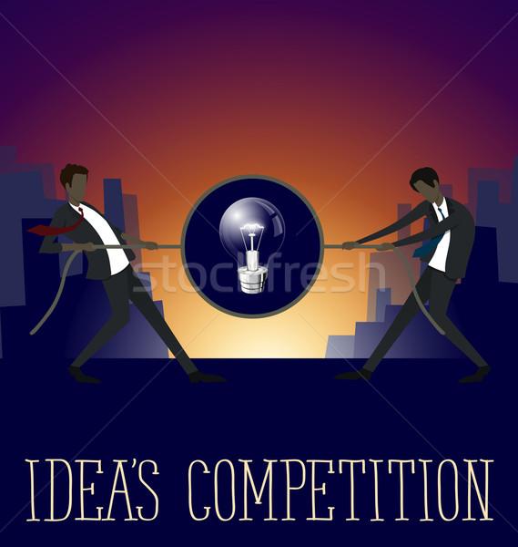 Vektor Business Ideen Wettbewerb Arbeit Geschäftsmann Stock foto © leedsn