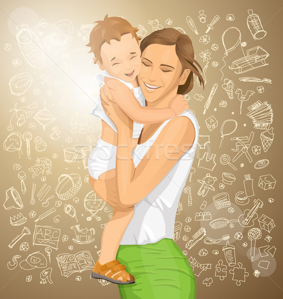 ベクトル 女性 子 幸せな家族 赤ちゃん 笑顔 ストックフォト © leedsn