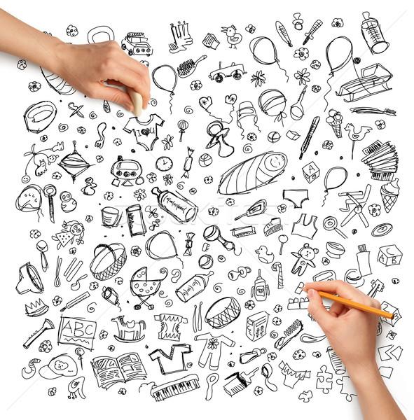 Idéia mão humana família esboço lápis bebê Foto stock © leedsn