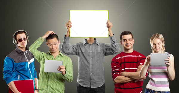 Male With Write Board In His Hands Stock photo © leedsn