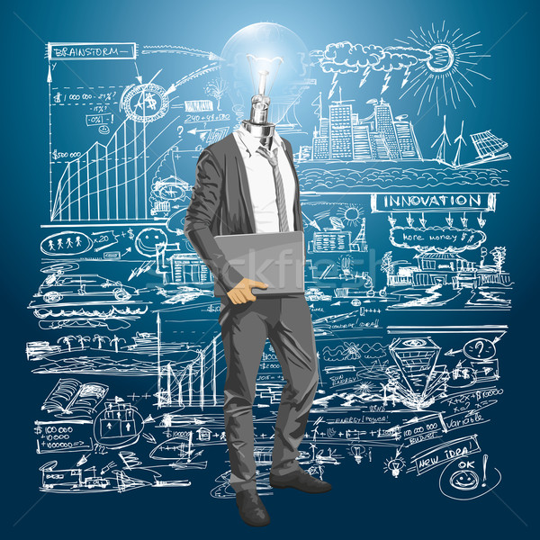 Lamp Head Man With Laptop Stock photo © leedsn
