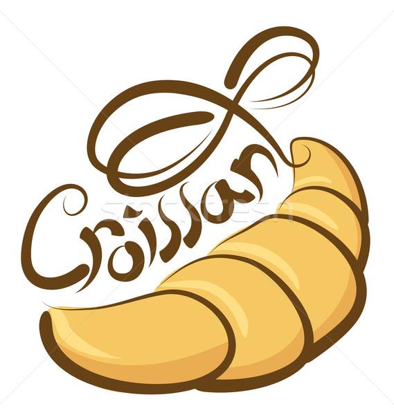 Vektor croissant kalligrafikus felirat torta étterem Stock fotó © leedsn