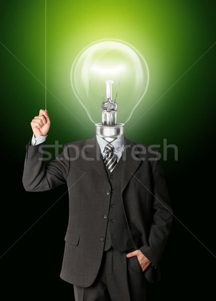 business man turn on hith bulb head Stock photo © leedsn