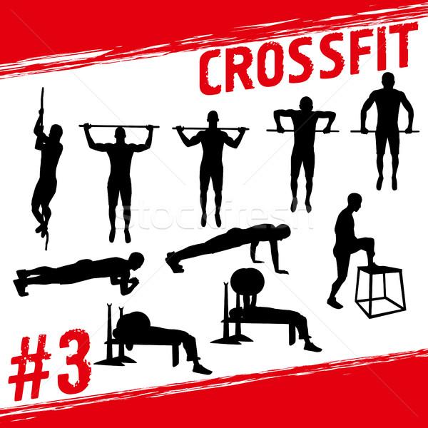 Crossfit vektor sziluettek emberek fitnessz sok Stock fotó © leedsn