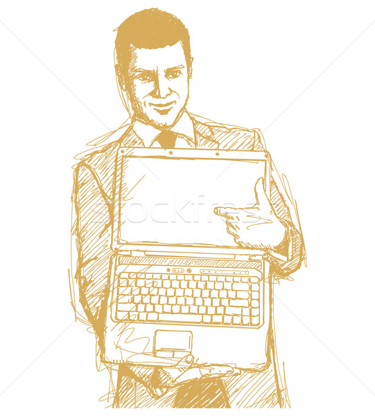 Stock photo: Sketch Businessman With Open Laptop In His Hands