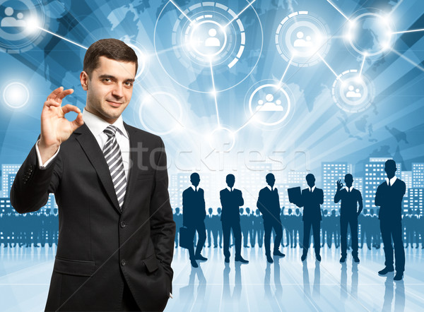 üzletember munkáltató választ alkalmazott üzlet férfi Stock fotó © leedsn