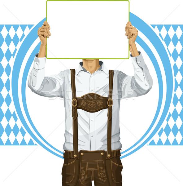 Mann schreiben Bord Oktoberfest Idee Vektor Stock foto © leedsn