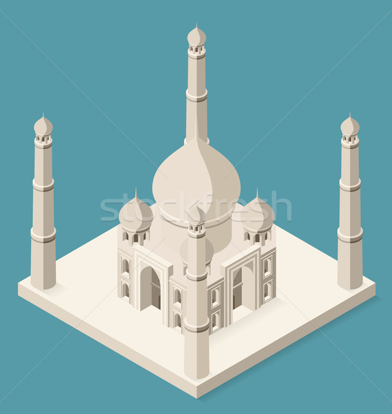 Vector 3d Flat Isometric Taj Mahal Stock photo © leedsn