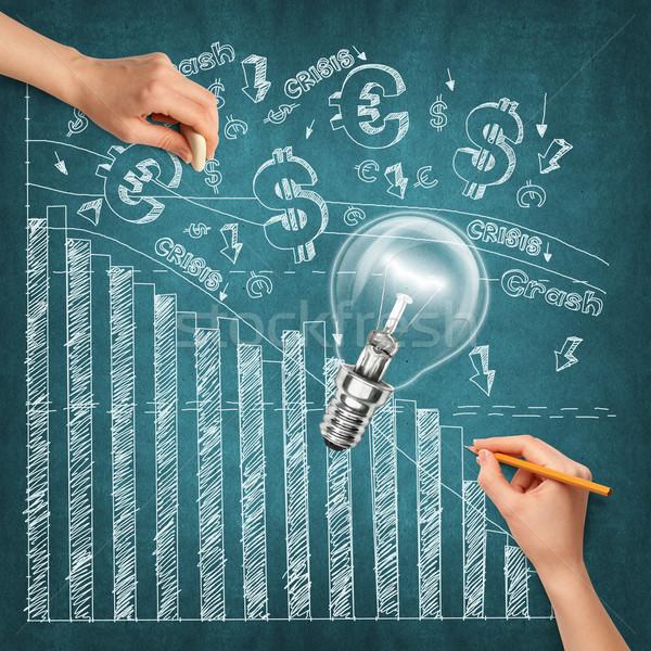 Foto stock: Idéia · mão · humana · dinheiro · lâmpada · esboço · lápis