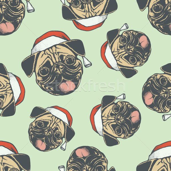 Christmas Pug dog vector seamless pattern illustration Stock photo © leedsn