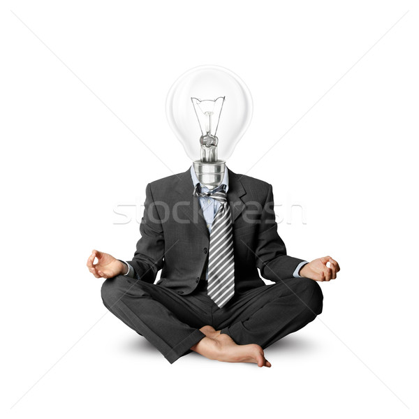 lamp-head businessman in lotus pose Stock photo © leedsn