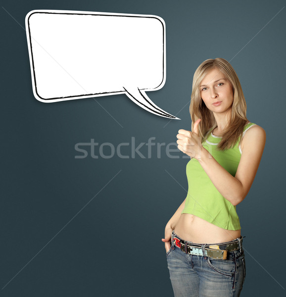 young woman shows well done Stock photo © leedsn