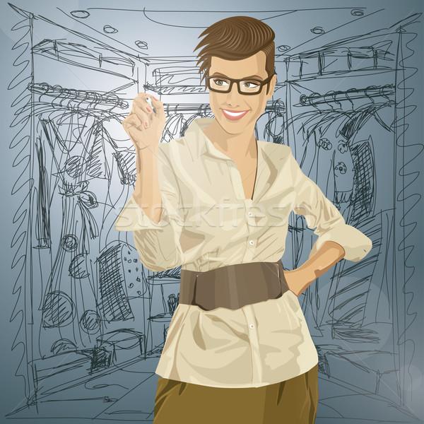 Vektor hipszter üzletasszony ír valami ötlet Stock fotó © leedsn