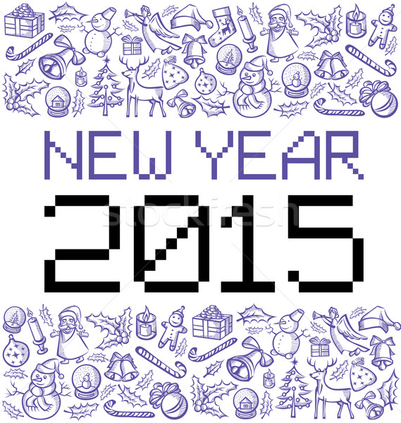 вектора Пиксели номера 2015 Рождества Новый год Сток-фото © leedsn
