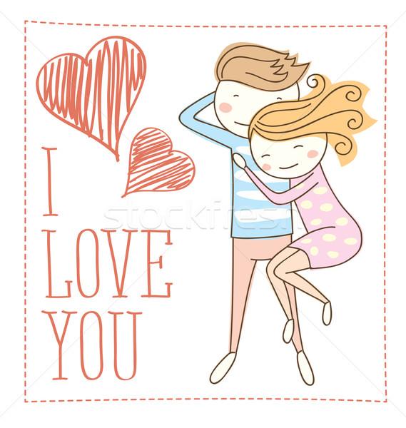 Vettore Coppia caduta amore san valentino giorno Foto d'archivio © leedsn