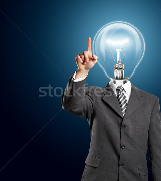 Lamp Head Business Man Push the Button Stock photo © leedsn