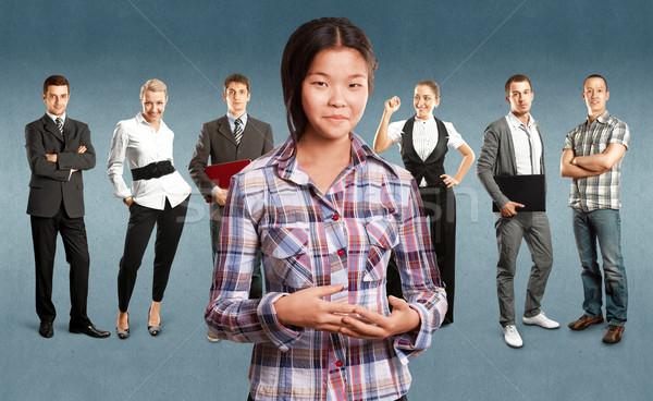 Business team verschillend achtergronden man vergadering gelukkig Stockfoto © leedsn