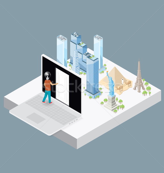 Vector 3d Flat Isometric With Internet Concept Stock photo © leedsn