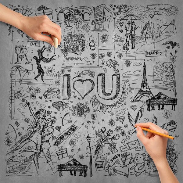 Foto stock: Idéia · mão · humana · amor · esboço · lápis · mão