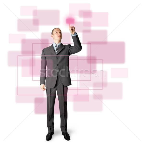 full length businessman push the button Stock photo © leedsn