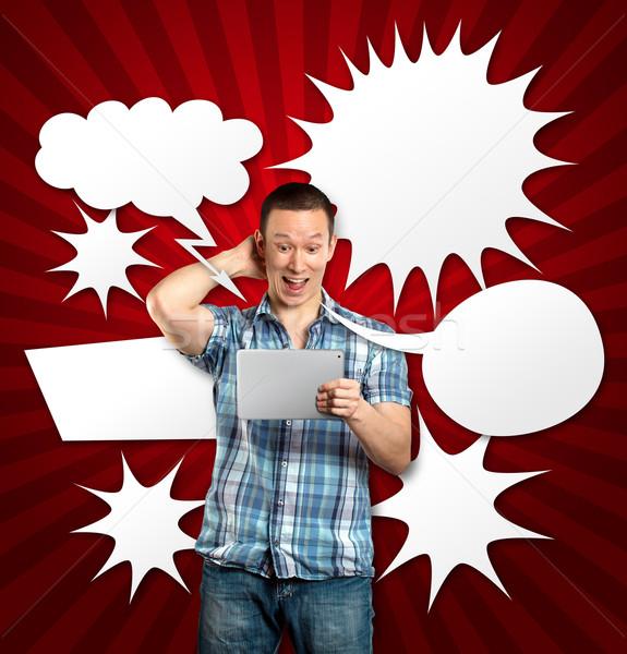 Man tekstballon idee touch business zakenman Stockfoto © leedsn