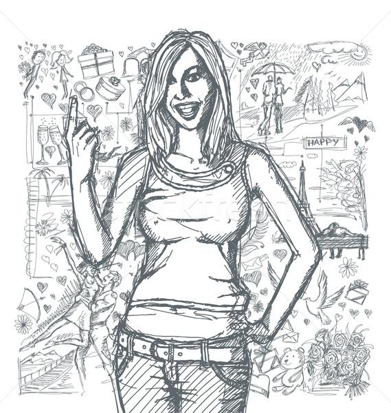 Stockfoto: Gelukkig · meisje · vinger · liefde · verhaal · vector · schets